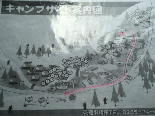 小黒川渓谷キャンプ場キャンプサイト案内図