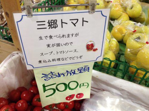 道の駅でトマト詰め放題
