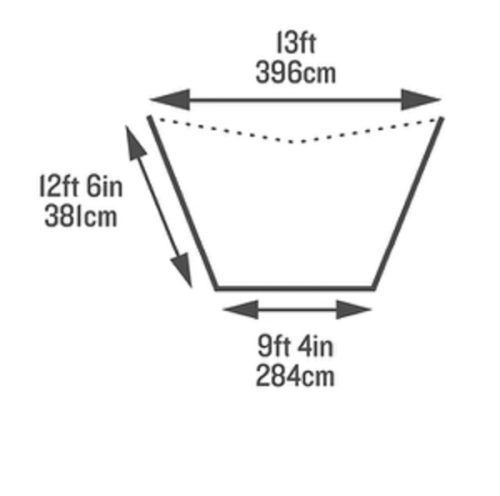 ミラダタープの寸法と大きさ