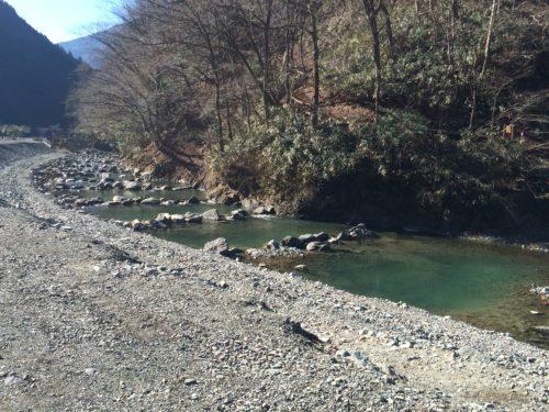 神之川キャンプ場 のサイトからみえる川