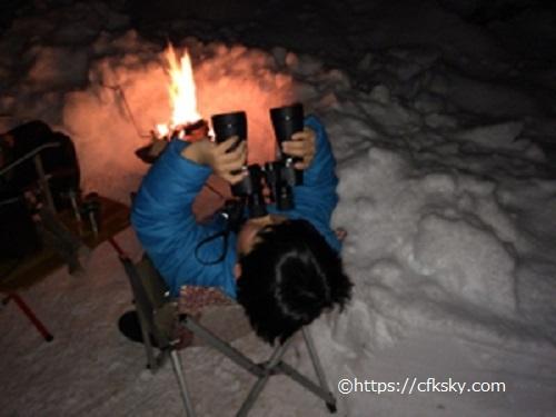 PICA山中湖ハンモックコテージ で焚き火をしながら月の観察