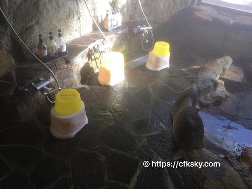 くるみ温泉キャンプ場の温泉洗い場