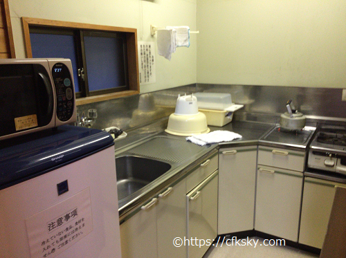 かじかの湯かじか荘コテージ室内キッチン