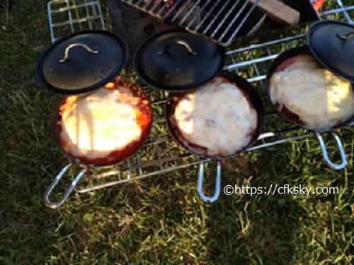 内山牧場キャンプ場でキャンプ料理 のグラタン