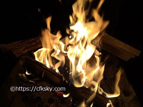 ファイアグリルラージでの焚き火
