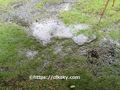 ワイルドキッズ岬キャンプ場でキャンプ で雨撤収