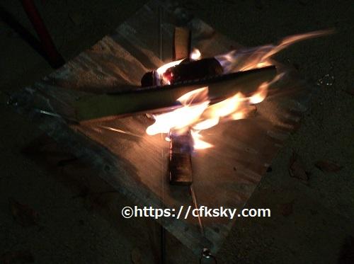 メッシュシート焚き火台ファイアスタンドでの焚き火