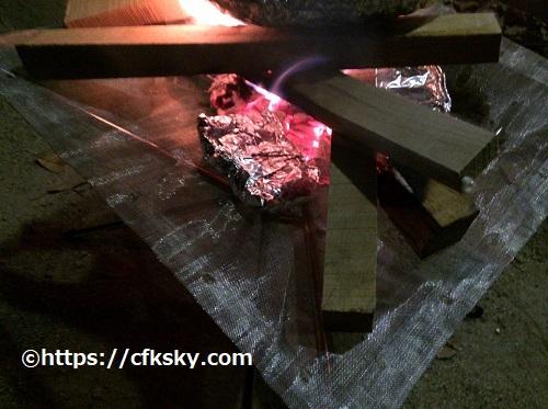 ファイアスタンドでの焚き火料理をしてみた