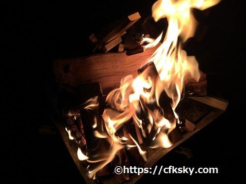 ワイルドキッズ岬キャンプ場での焚き火