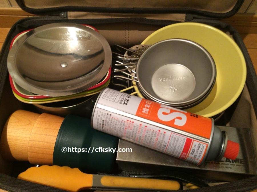 スノーピークマルチコンテナ Sユニット にキャンプで使うキッチン道具を入れてみた