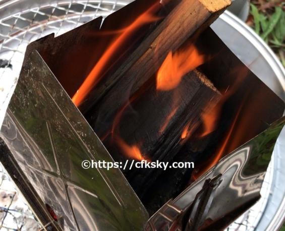 ユニフレームのネイチャーストーブで焚き火