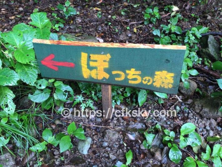 ぼっちの森 キャンプ場へのアクセス案内看板