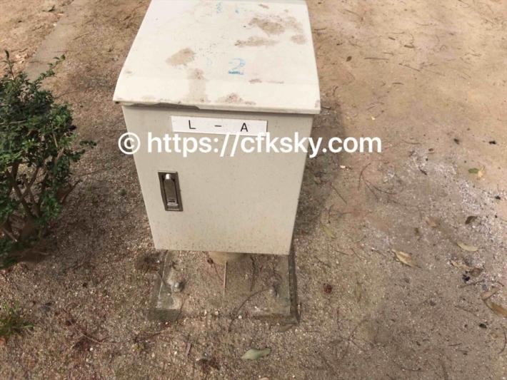 上野沼やすらぎの里キャンプ場第2オートキャンプ場のサイトにある電源ボックス