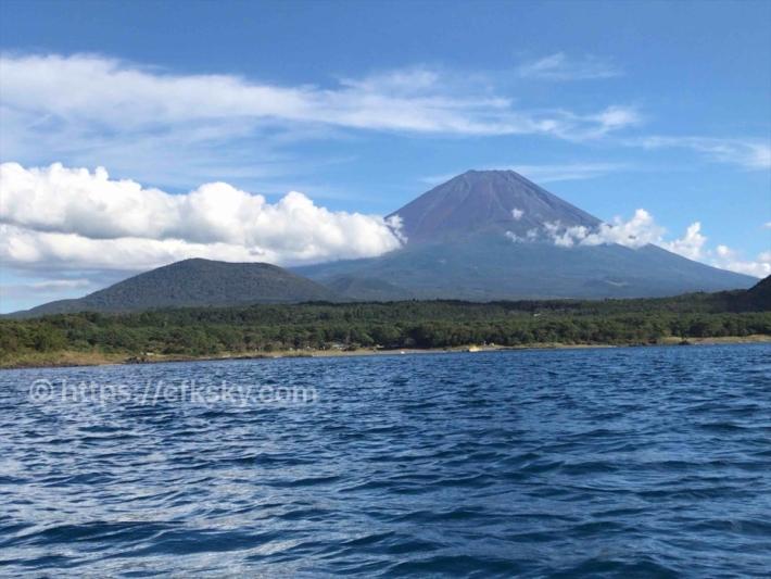 本栖湖で漕いで楽しんだカヤックからの富士山の眺め