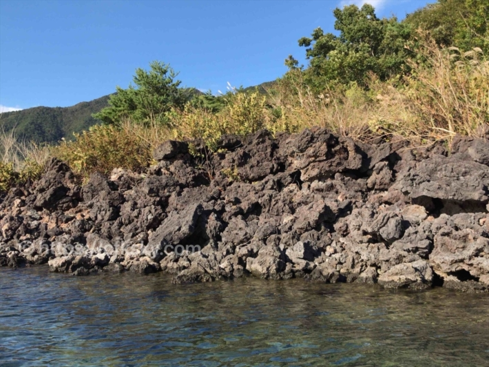 本栖湖でカヤックを漕いで溶岩帯へ