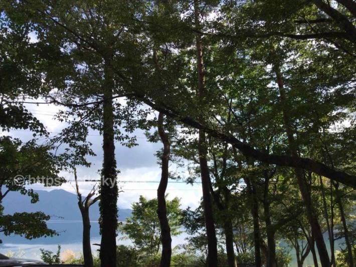 本栖湖いこいの森キャンプ場から眺め
