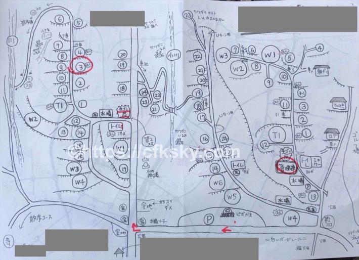 黒坂オートキャンプ場サイト案内図