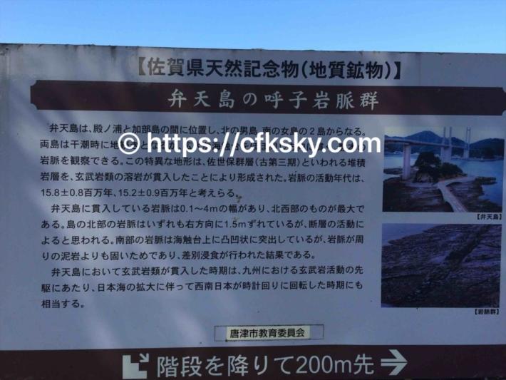 弁天島の呼子岩脈群についての案内看板