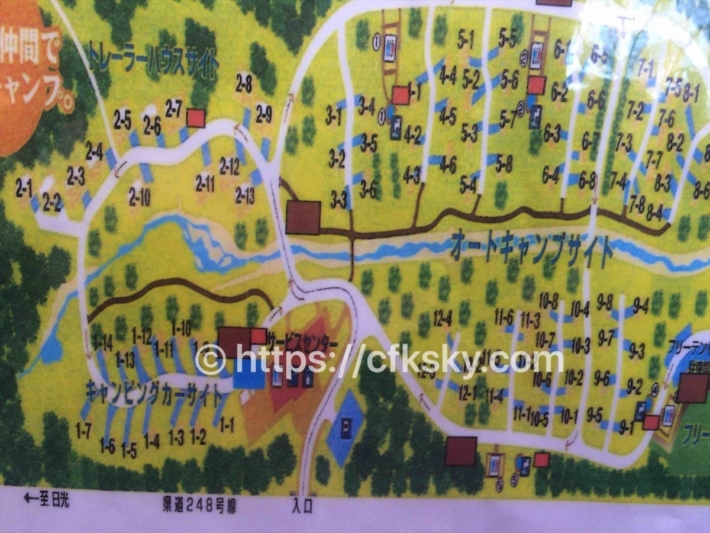 日光だいや川公園オートキャンプ場のサイト案内図