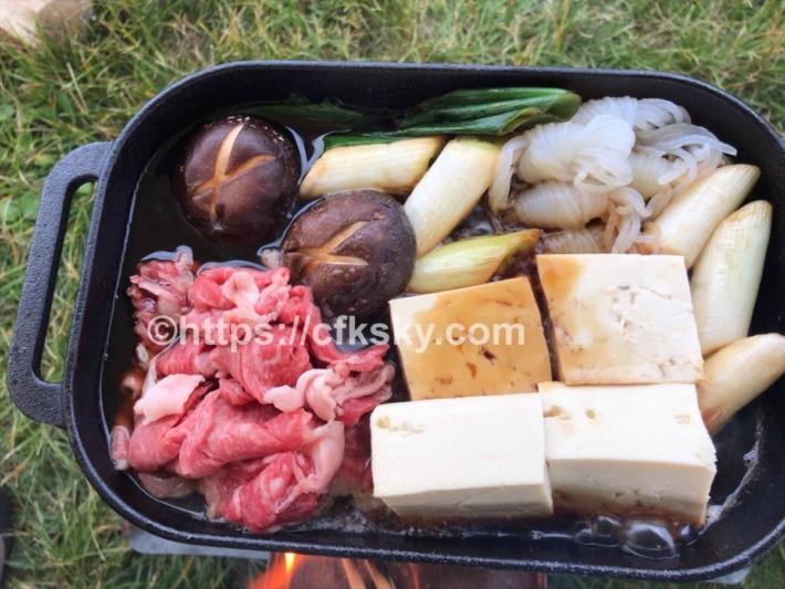 キャンプで使ってみたコンボクッカーでの焚き火料理はすき焼き