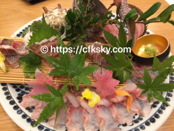 魚半で二日目の夕食での刺身盛り合わせ