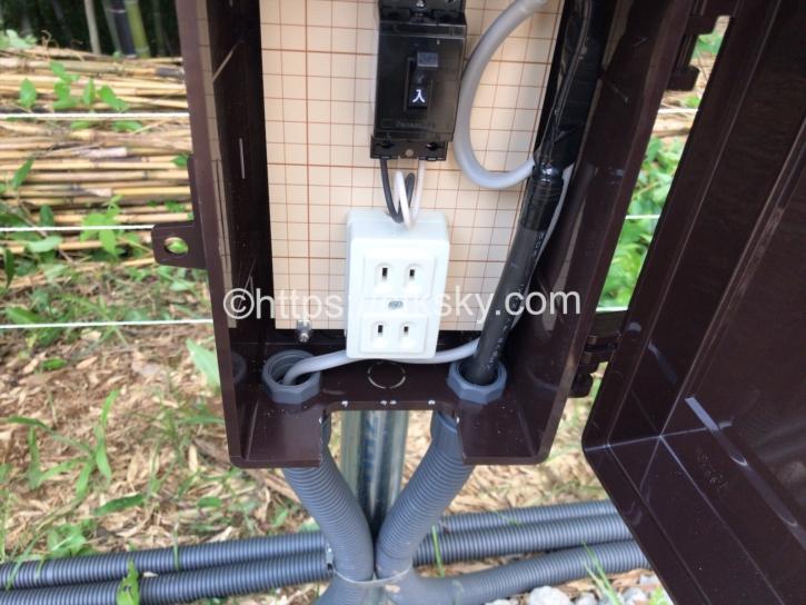 宇佐美城山公園キャンプ場の電源ボックス