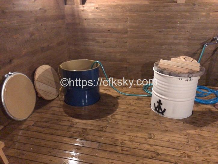 宇佐美城山公園キャンプ場のドラム缶風呂の中
