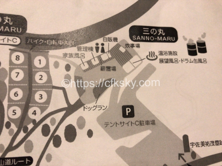 宇佐美城山公園キャンプ場サイト図C区画