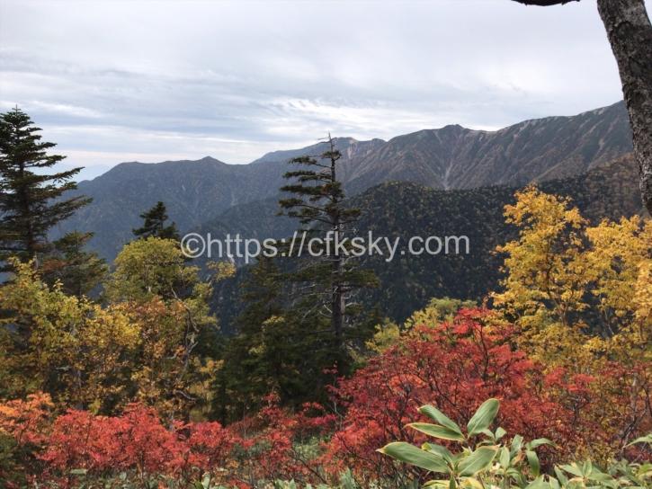 合戦小屋からさきの登山道からの景色
