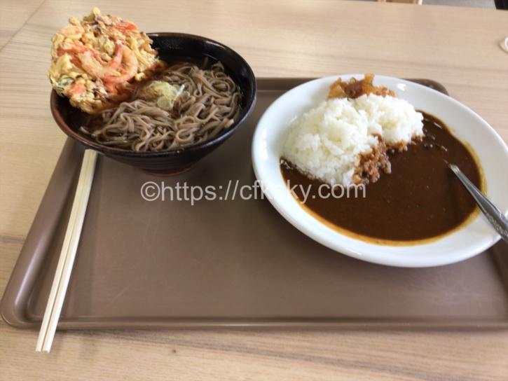 八方池山荘で食べたランチは天ぷらそばとカレーライス