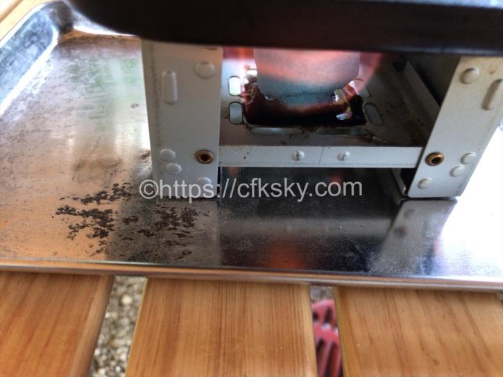 ポケットストーブを使って鉄板焼き