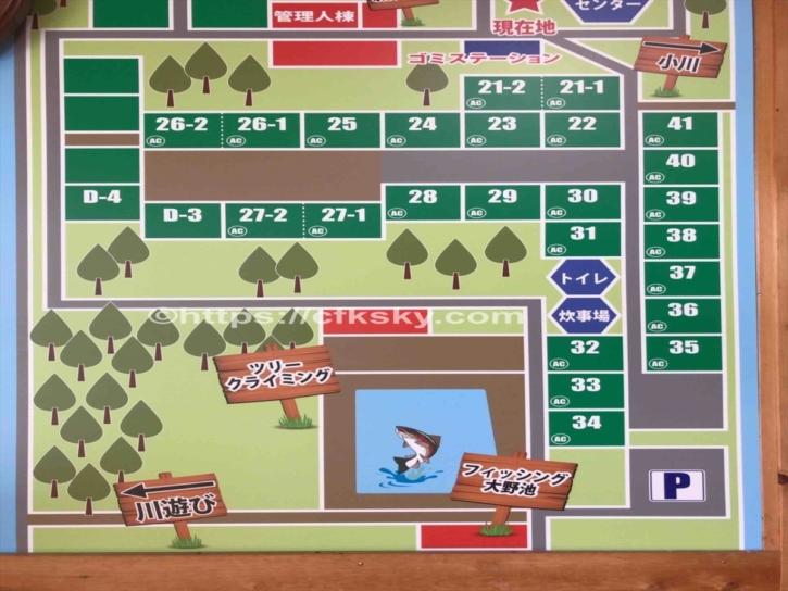 田立の滝オートキャンプ場サイト図下段