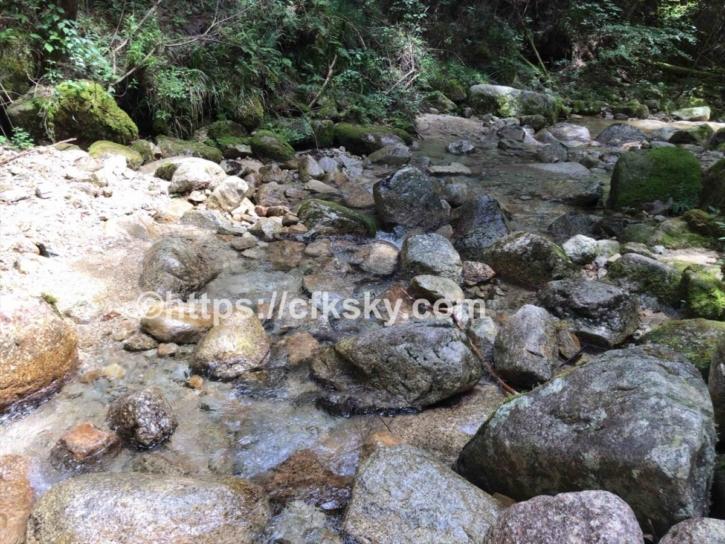 田立の滝オートキャンプ場のサ41番サイト横にある小川