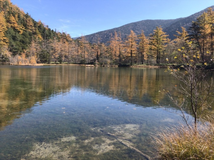 明神二之池からみる神秘的な景色