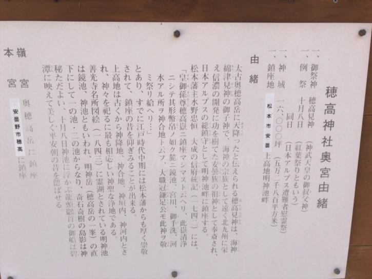 穂高神社奥宮由緒