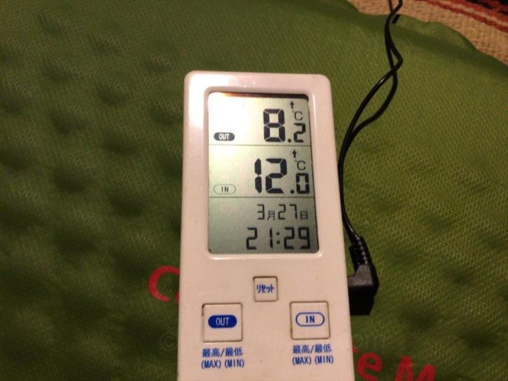モンベルのダウンハガー800 Womens#2を初めてキャンプで使ってみた時の外気温