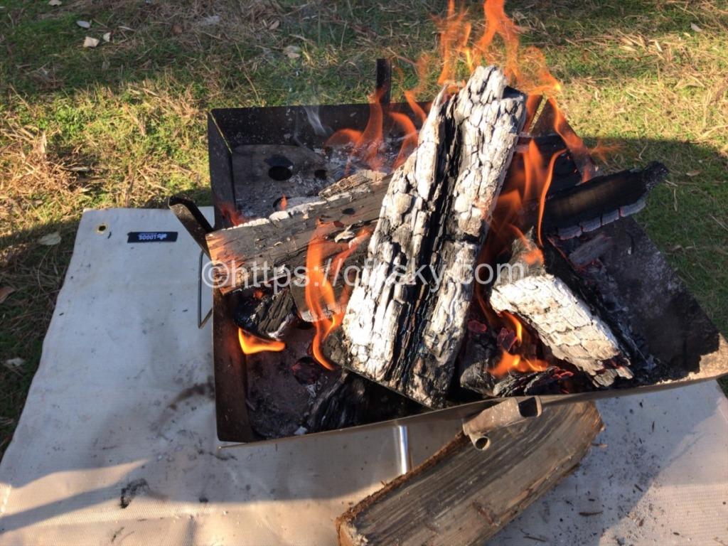 日川浜オートキャンプ場で朝焚火